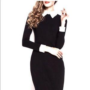 Jessica Howard Sweater Knit White Shirt Mid Dress